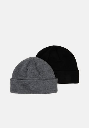 JACSKY SHORT BEANIE 2 PACK - Čepice - black/grey melange