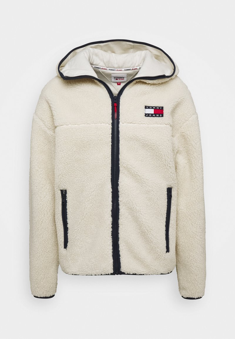 Tommy Jeans - SHERPA ZIP THRU HOODIE - Fleece jacket - ecru