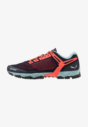 LITE TRAIN - Hiking shoes - premium navy/fluo coral