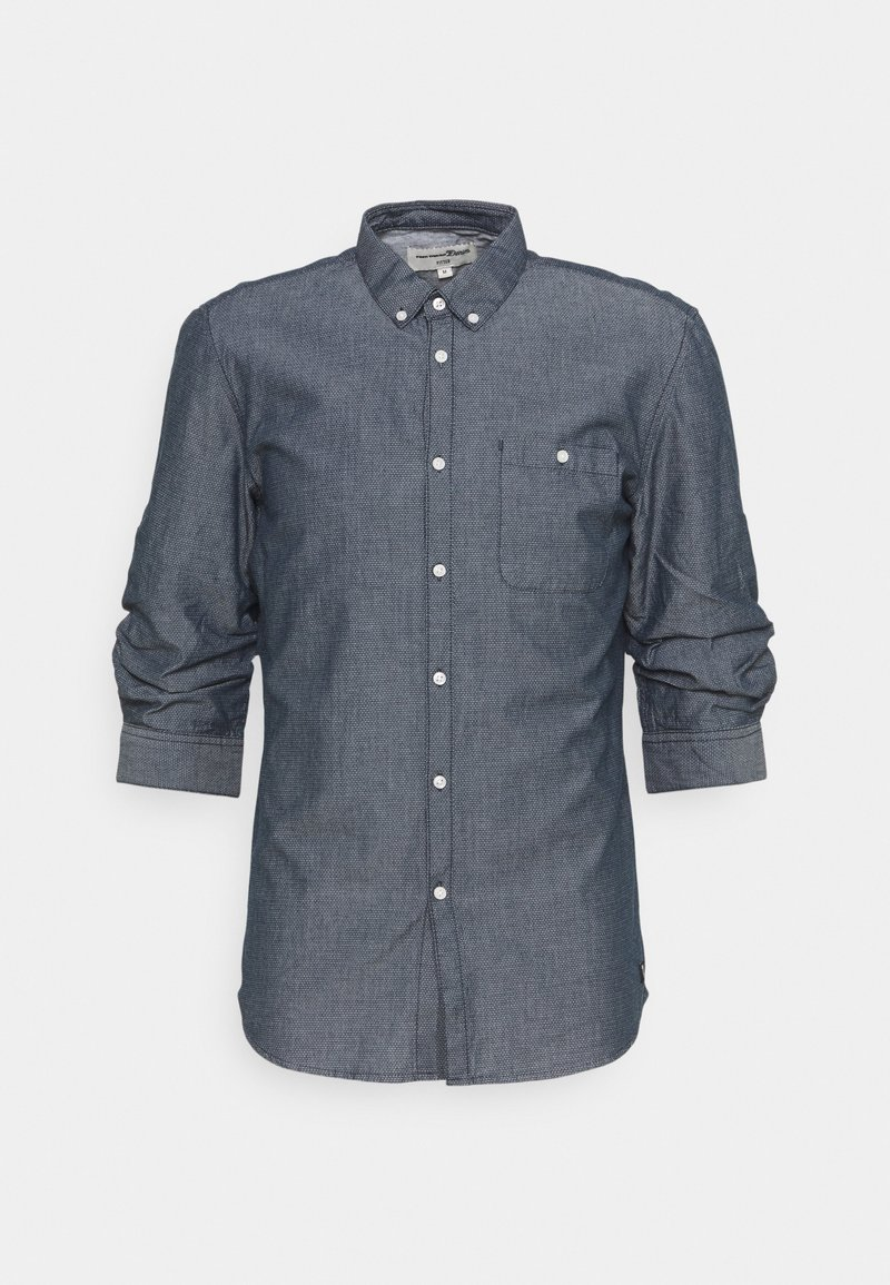 TOM TAILOR DENIM - FIXED TURN UP - Shirt - navy/white