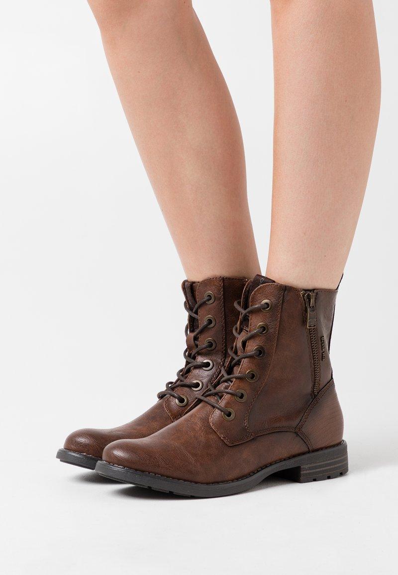 TOM TAILOR - Lace-up ankle boots - cognac