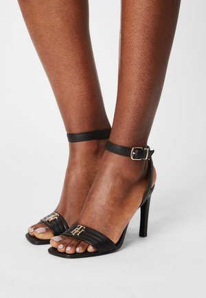 TOMMY PADDED HIGH HEELED SANDALS - High heeled sandals - black