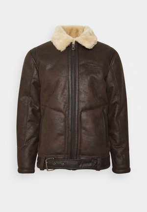 Faux leather jacket - crudeoil