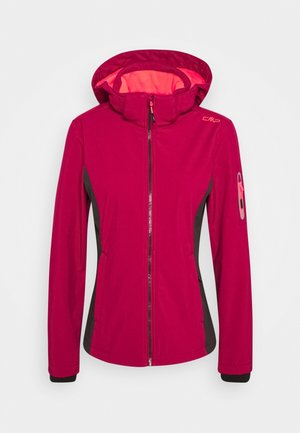 WOMAN JACKET ZIP HOOD - Kurtka Softshell - magenta/antracite