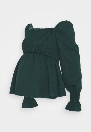 SHIRRED PEPLUM - Long sleeved top - dark green
