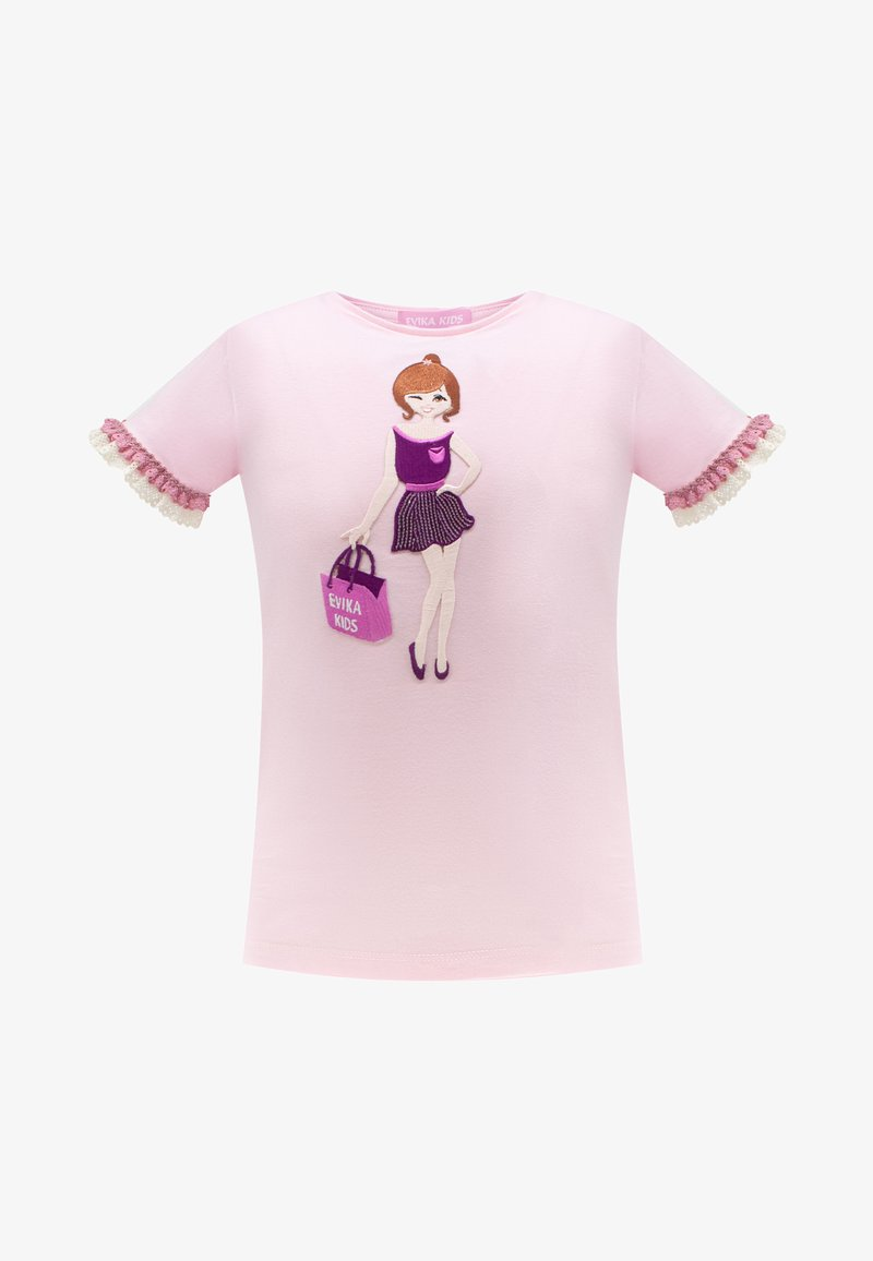 Evika Kids - WITH LACE - Print T-shirt - pink