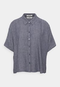 TOM TAILOR - BLOUSE LOOSE SHAPE - Button-down blouse - navy/white - 0