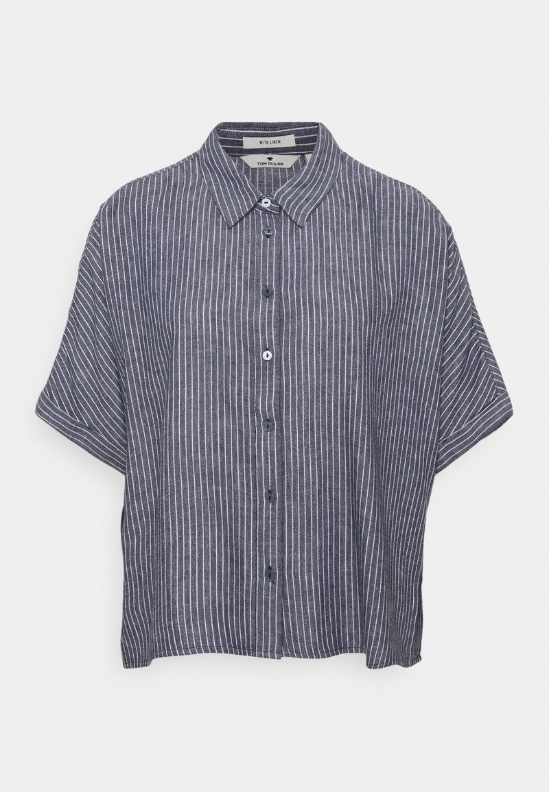 TOM TAILOR - BLOUSE LOOSE SHAPE - Button-down blouse - navy/white