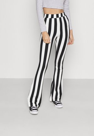 STRIPE BASIC FLARE PANTS  - Leggings - Trousers - black