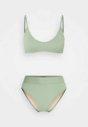 CROP TOP HIGHWAISTED CHEEKY SET - Bikiny - khaki
