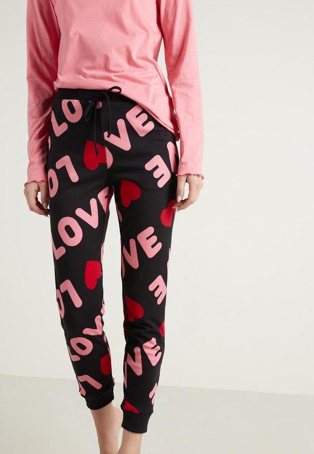 Pyjama bottoms - - 093u - black love print