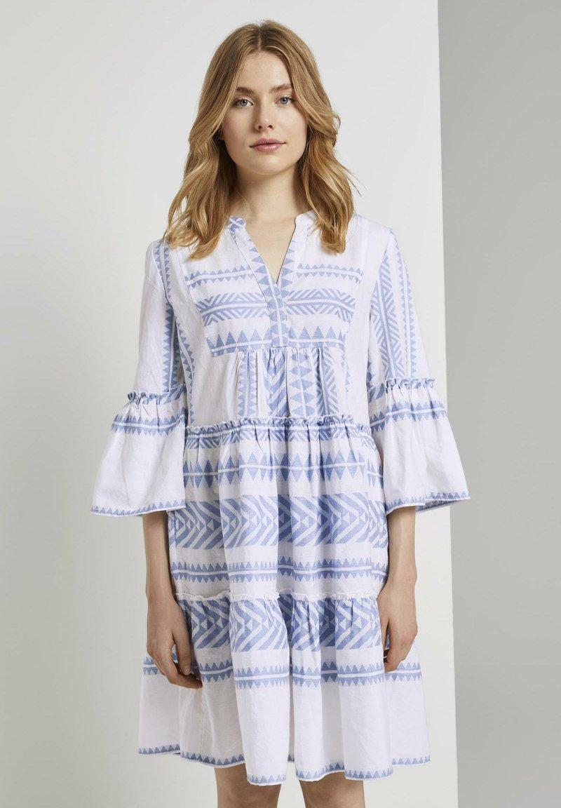 TOM TAILOR - MIT VOLANTS - Day dress - white blue large ikat design