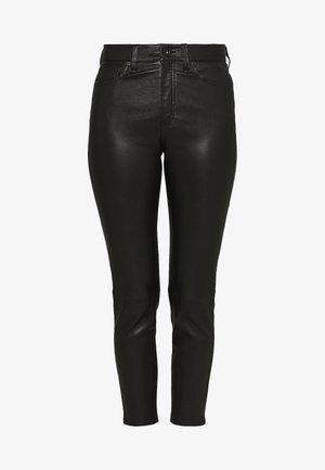 NINA HIGH RISE ANKLE SKINNY - Kožené kalhoty - black