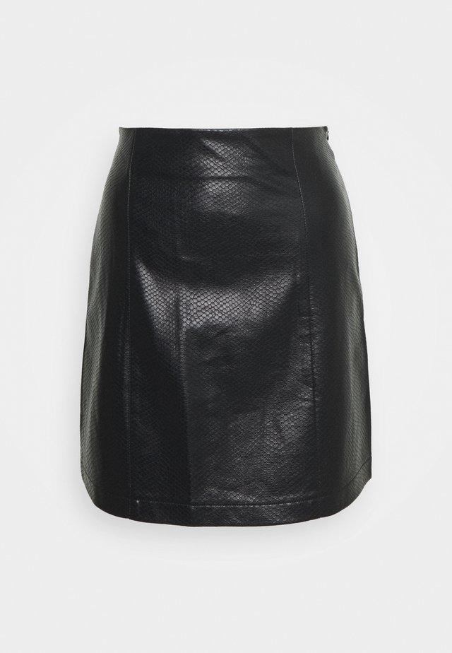 CELIA SKIRT KROKO - A-line skirt - schwarz