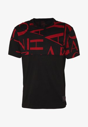 Print T-shirt - black/syrah