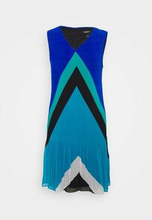 VNECK PLEATED SHIFT - Shift dress - multi chevron/light ocean blue