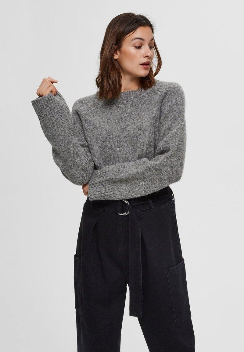 Selected Femme - Sweter - medium grey melange