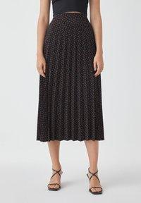 PULL&BEAR - Pleated skirt - black - 0