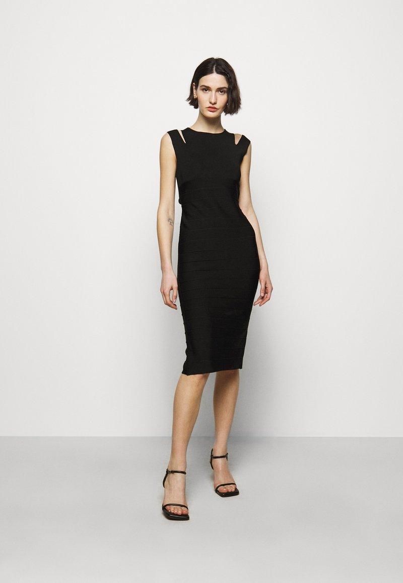 Hervé Léger - CRISS CROSS BACK DRESS - Pouzdrové šaty - black