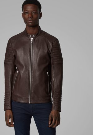 JORDON1 - Leather jacket - dark brown