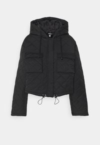 Missguided - HOODED CROPPED QUILTED JACKET - Lett jakke - black - 0