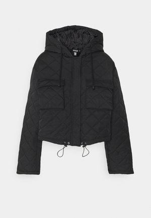 HOODED CROPPED QUILTED JACKET - Lett jakke - black