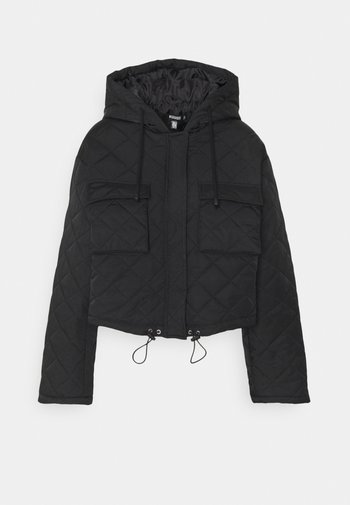 HOODED CROPPED QUILTED JACKET - Light jacket - black