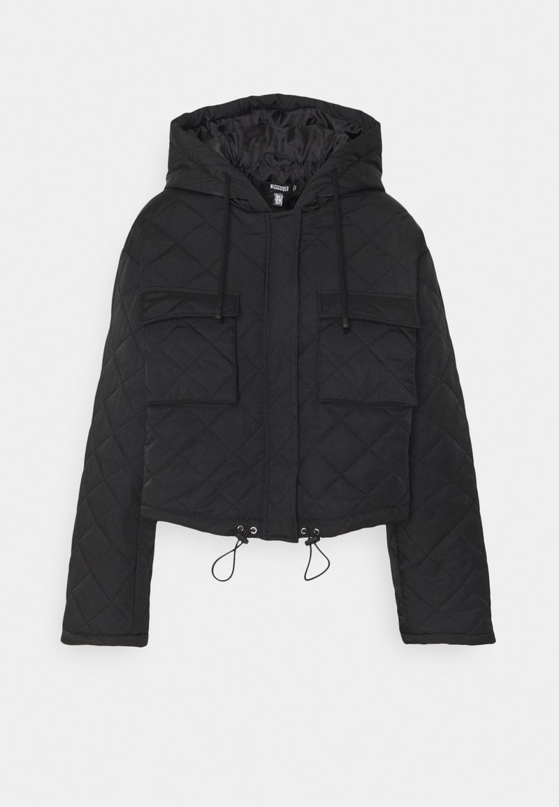 Missguided - HOODED CROPPED QUILTED JACKET - Lett jakke - black
