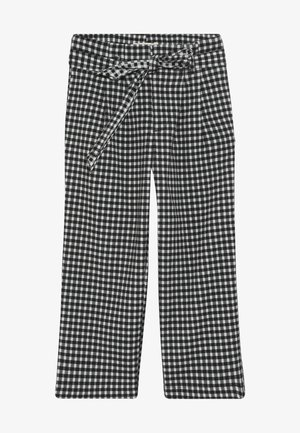 WIDE LEG FIT PAPER BAG WAIST PANTS IN STRUCTURED CHECK - Broek - black/white