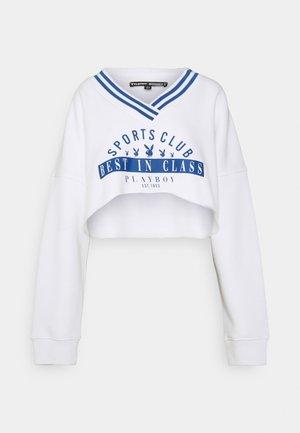 PLAYBOY SPORTS V NECK CROP - Sweatshirt - white