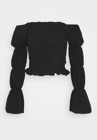 New Look - OFF THE SHOULDER SHIRRED SLEEVE TOP - Long sleeved top - black - 0