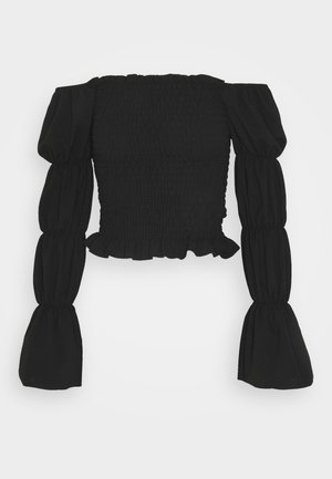 OFF THE SHOULDER SHIRRED SLEEVE TOP - T-shirt à manches longues - black
