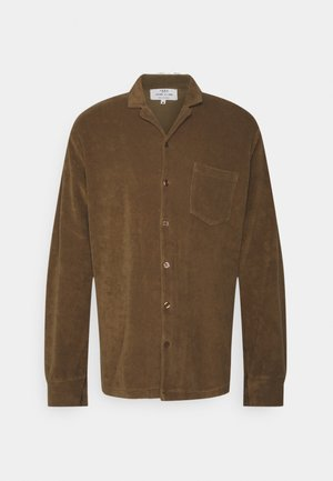 TOWELLING LONG SLEEVE UNISEX - Button-down blouse - brown tabacco