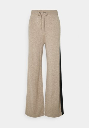 STRIPE WIDE LEG PANTS - Bukse - smoke/black/cream