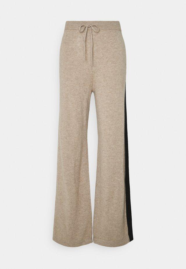 STRIPE WIDE LEG PANTS - Pantalon classique - smoke/black/cream