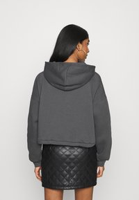 Nly by Nelly - BUTTON DRAWSTRING HOODIE - Hoodie - offblack - 2