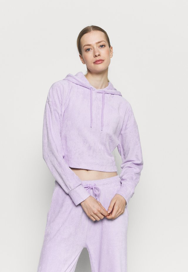 CROPPED TOWELLING HOODIE - Trui - lilac