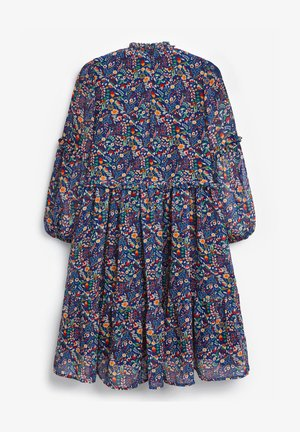 FLORAL TIERED CHIFFON - Day dress - blue