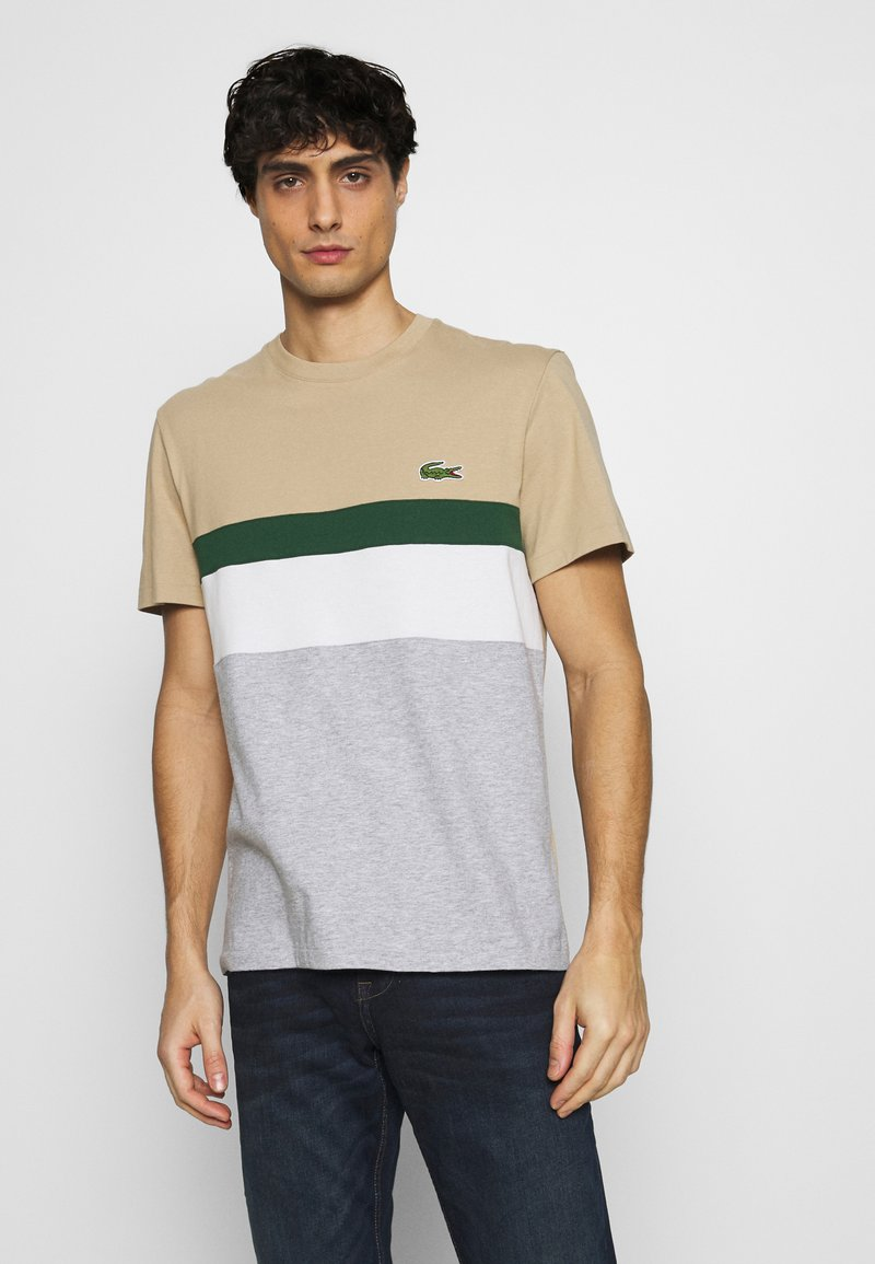 Lacoste - T-shirt imprimé - argent chine/farine/vert/viennois