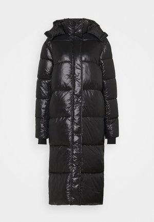 MAXI HOODED SHINE PUFFER - Vinterkåpe / -frakk - black