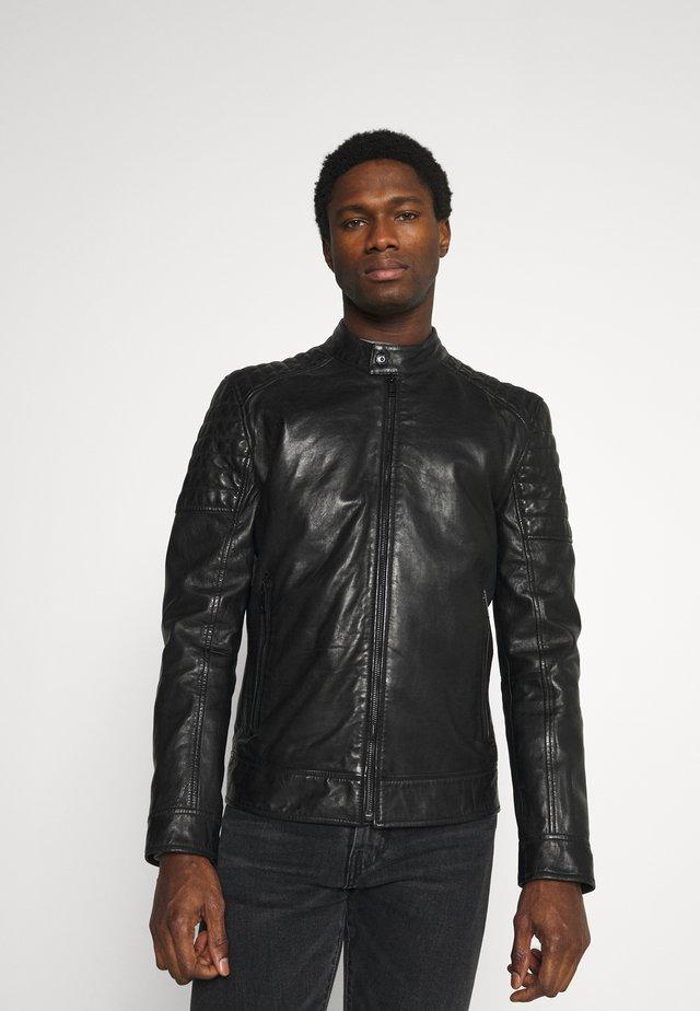DERRY - Kožená bunda - black