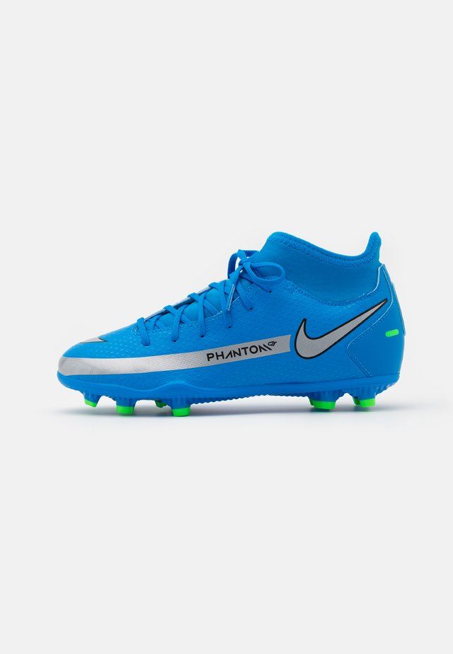 JR PHANTOM GT CLUB DF MG UNISEX - Moulded stud football boots - photo blue/metallic silver/rage green