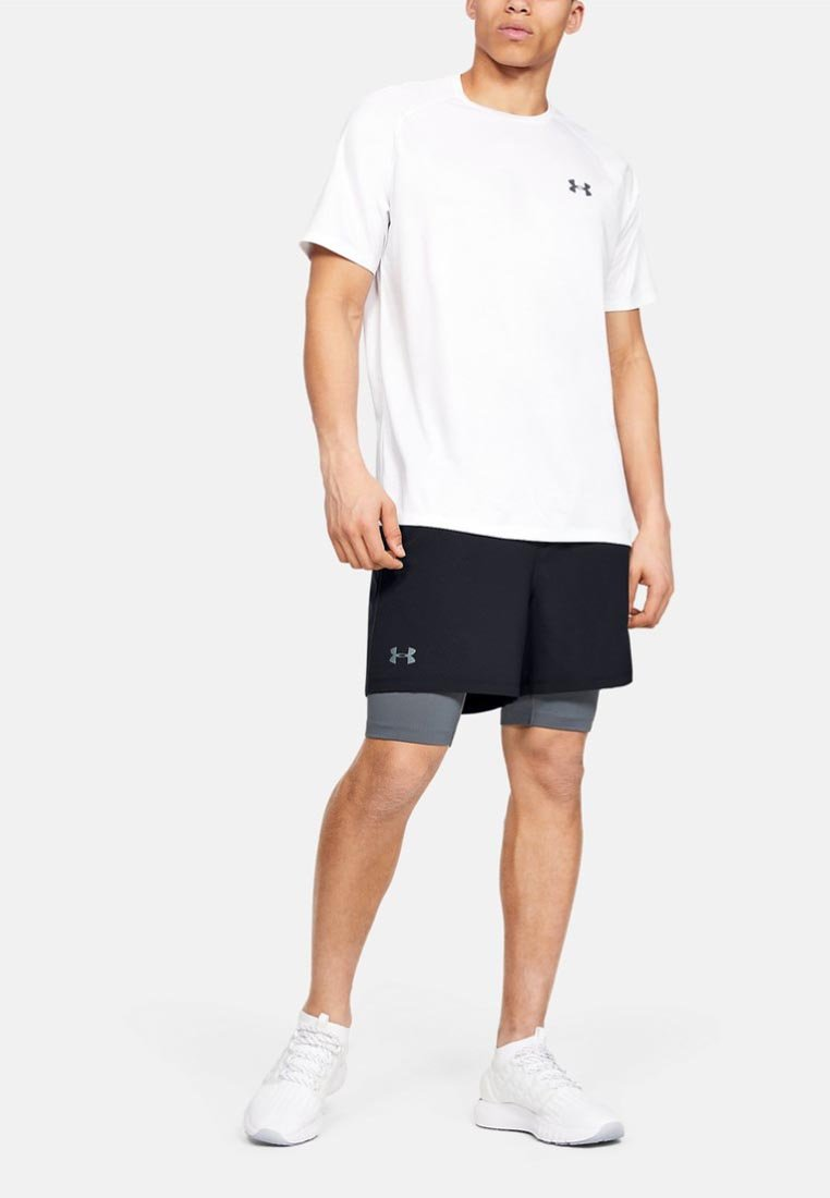 Under Armour - 2-IN-1 - Sports shorts - off-white/grey
