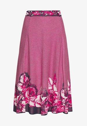 SKIRT INTARSIA PATTERN - Spódnica trapezowa - pink