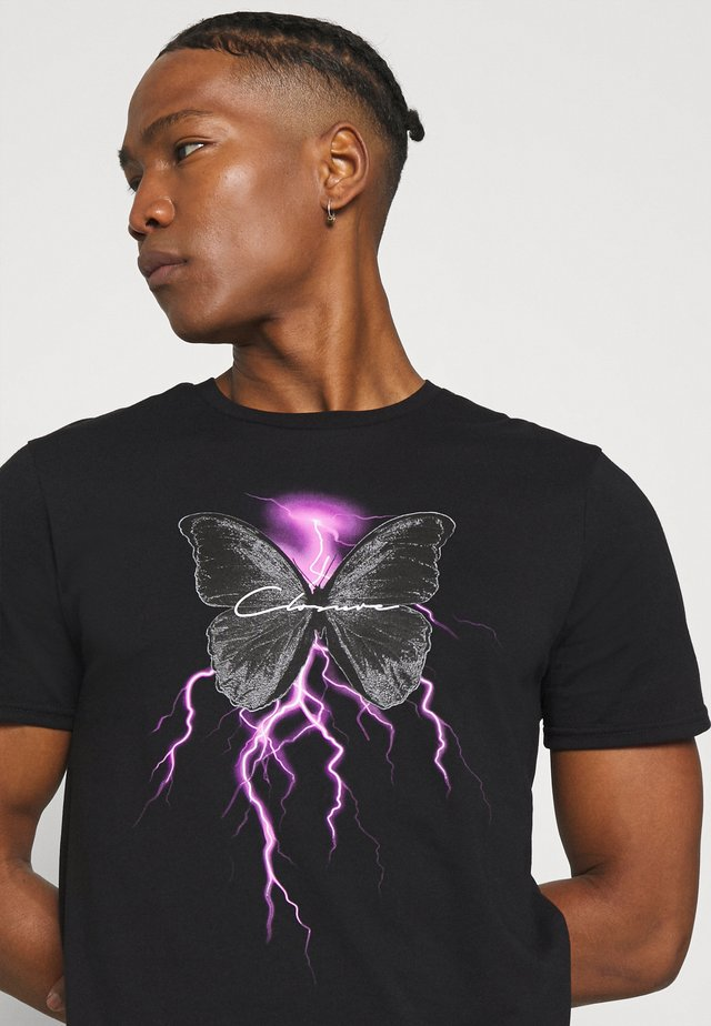ELECTRIC BUTTERFLY TEE - T-shirt med print - black