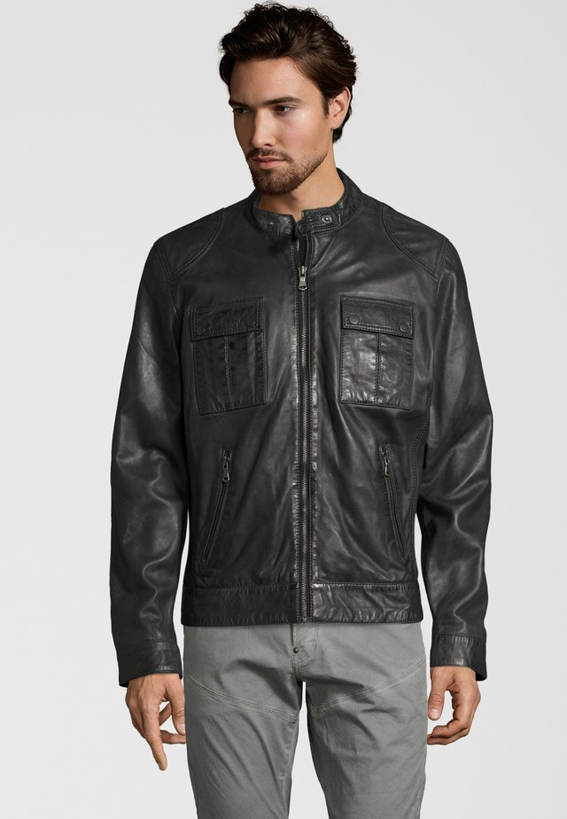 NEBRASKA  - Leather jacket - anthracite