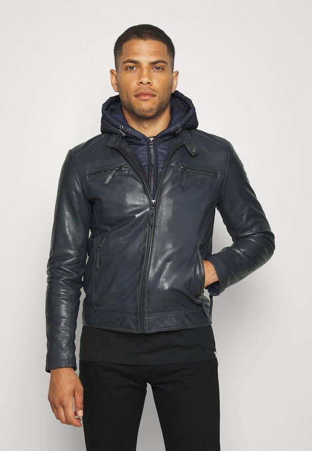 TONIC HOOD - Leather jacket - blue
