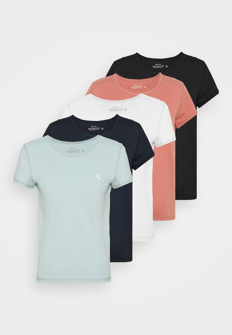Abercrombie & Fitch - 5 PACK - T-shirts - white/grey blue/rust/navy/black