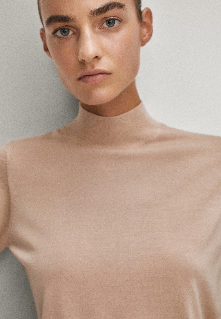 Massimo Dutti MIT GERIPPTEM STEHKRAGEN - Trui - neon pink - Dames jas Ontwerper