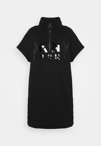 LACQUER LOGO HALF ZIP DRESS - Day dress - black
